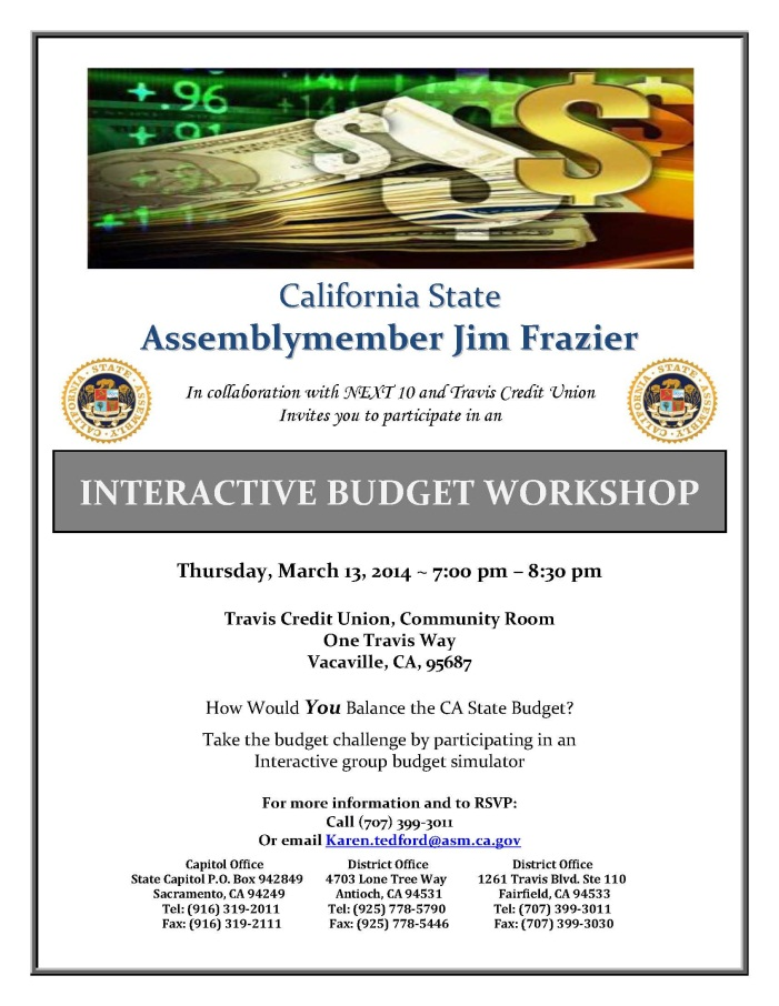 interactive state budget workshop news vacaville ca