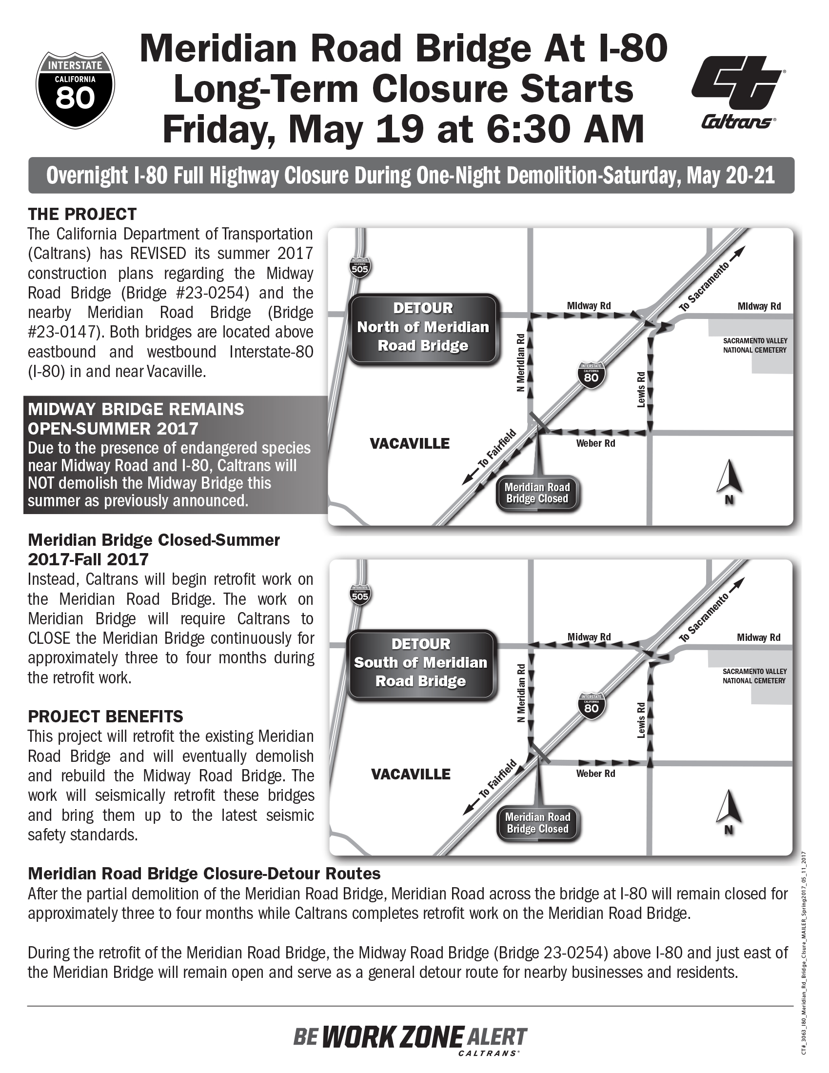 Page 1 of the Meridian Road overcrossing closure flyer