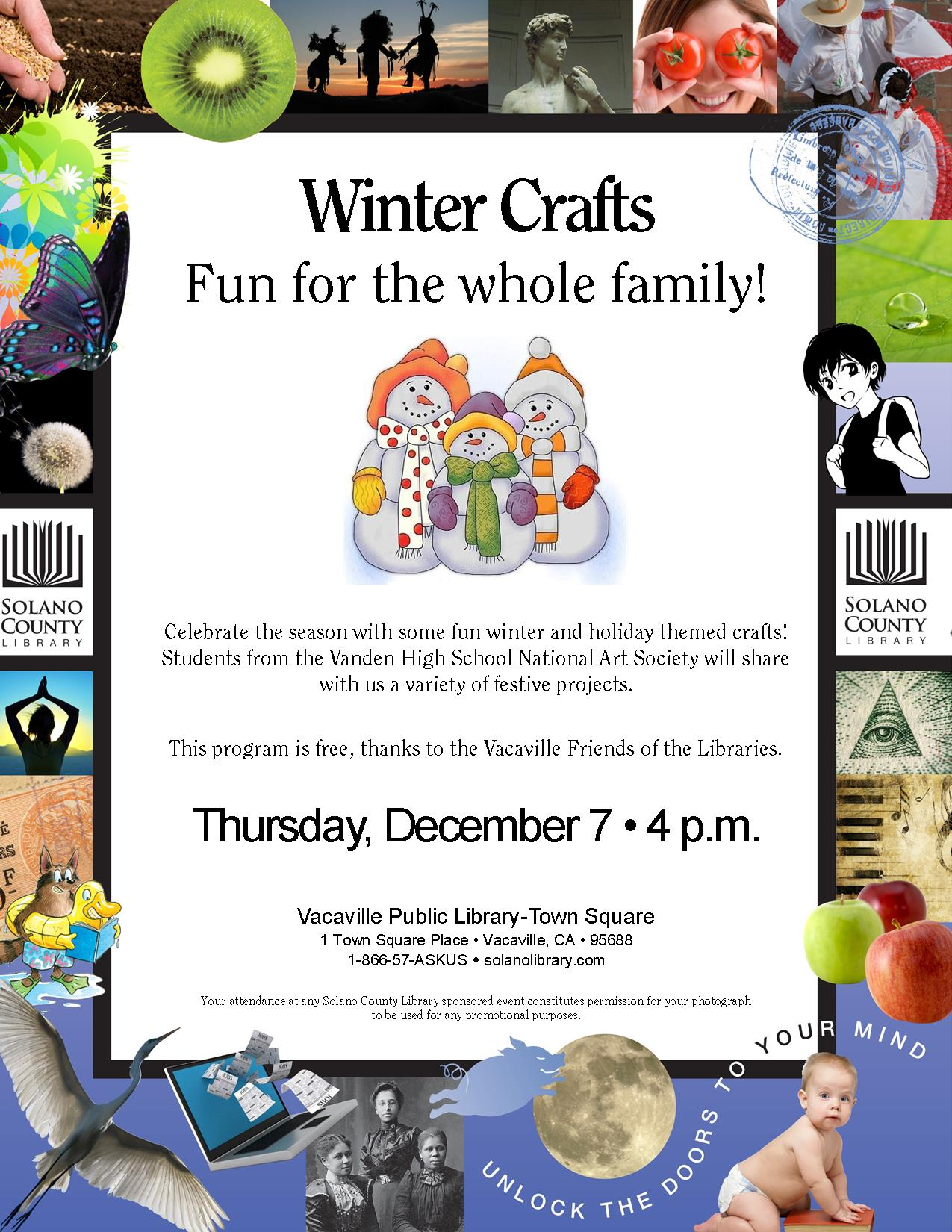 Flyer for upcoming winter crafts event at the Town Square Library
