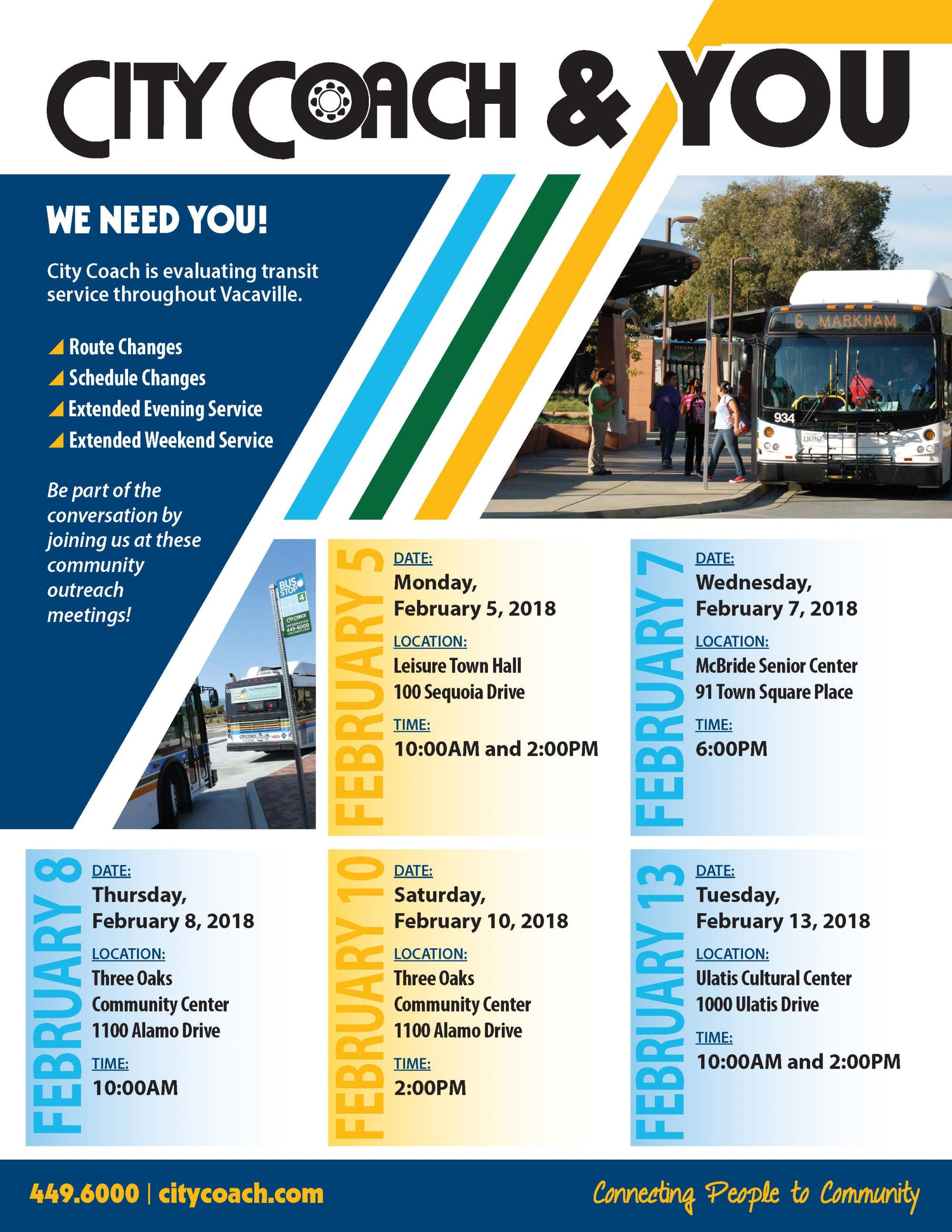 Public notice flyer for meetings being held by City Coach regarding updates, news and feedback from riders.
