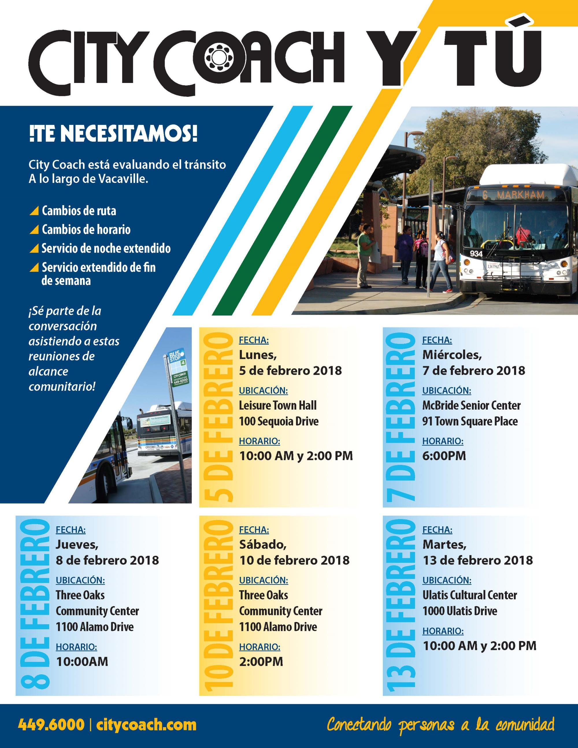 Public notice flyer in Spanish for meetings being held by City Coach regarding updates, news and feedback from riders.