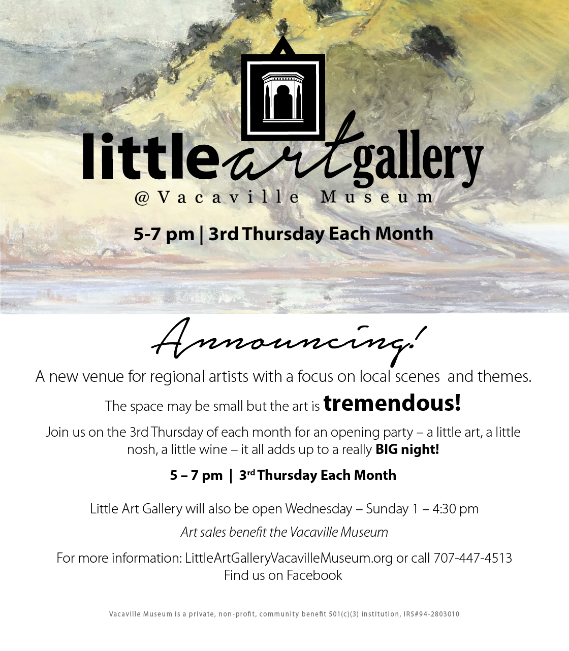 Flyer announcing the new little art gallery at the Vacaville Museum