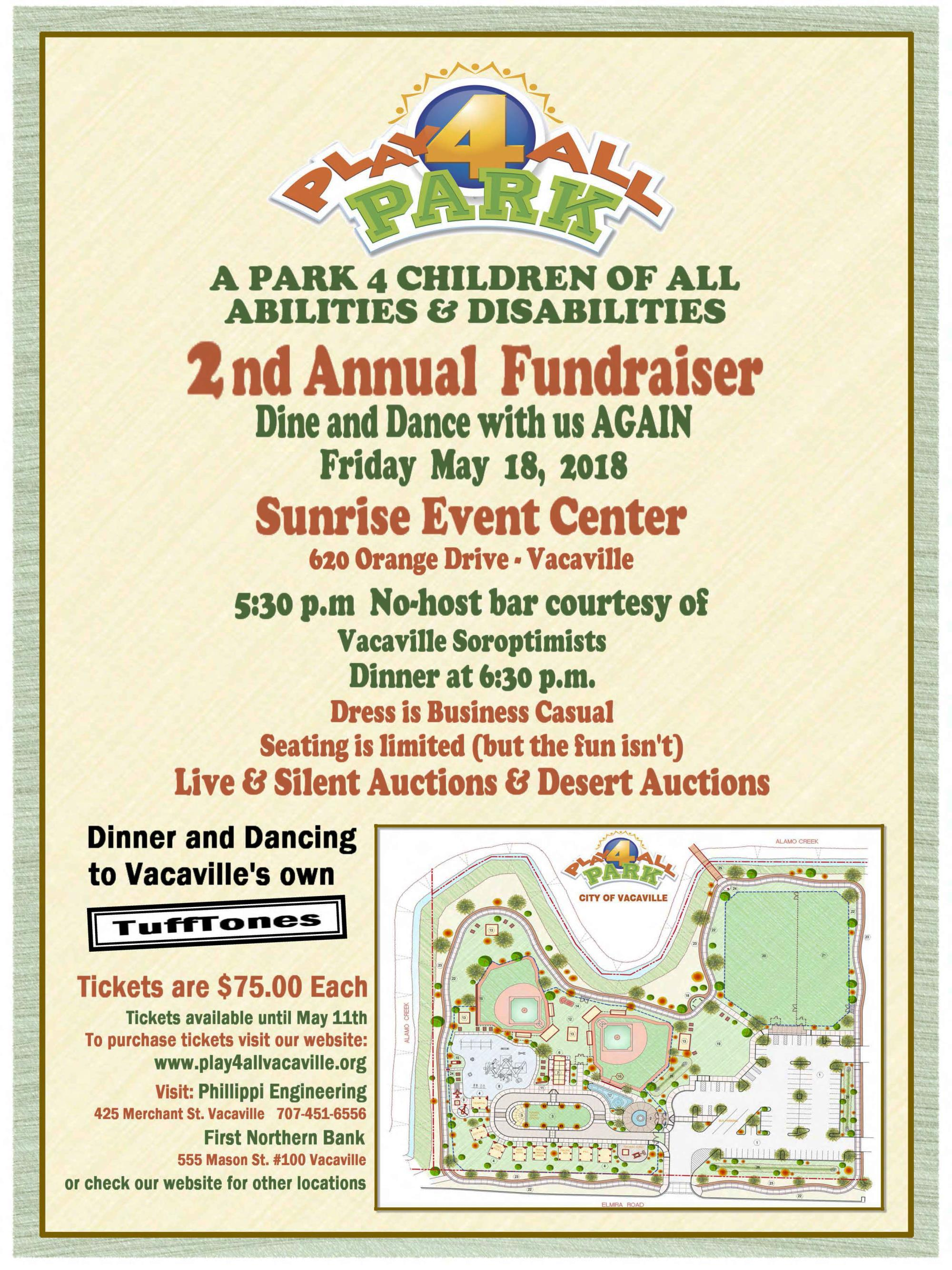 May 18 Fundraiser Flyer for the Play for All Park