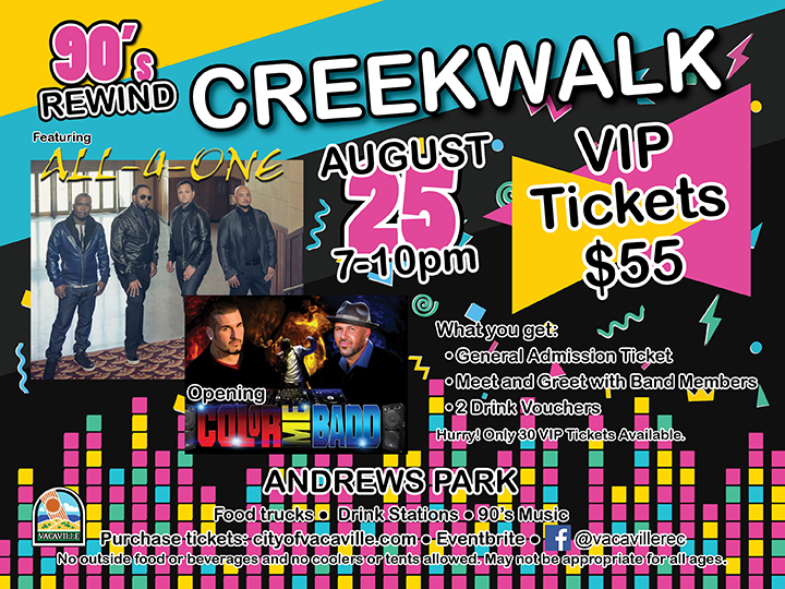 Vip package added for 90s rewind concert news vacaville ca poster for 90s rewind at the creekwalk m4hsunfo