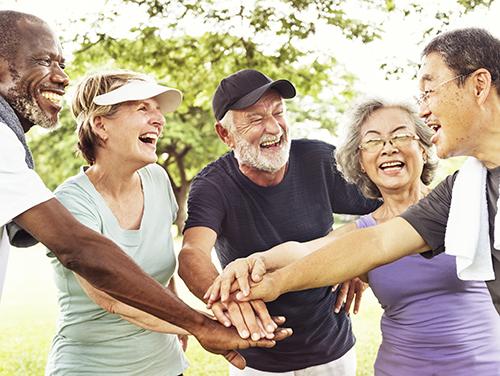 Group of older people having fun