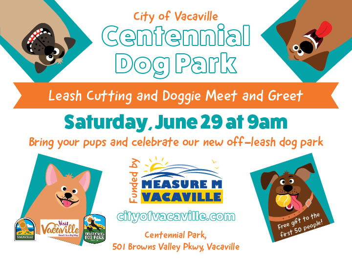flyer announcing leash cutting at Centennial Park on June 29th