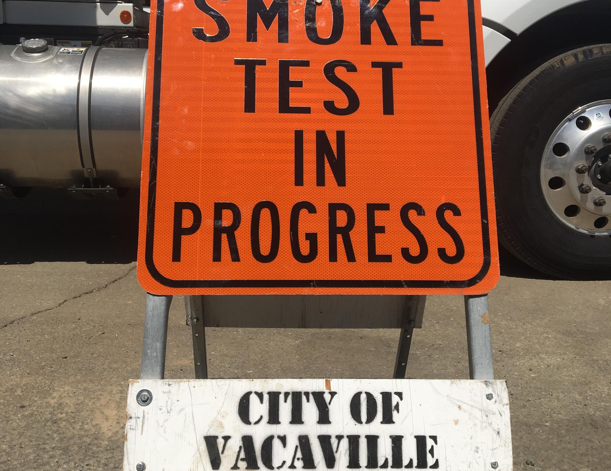 picture of smoke testing in progress sign