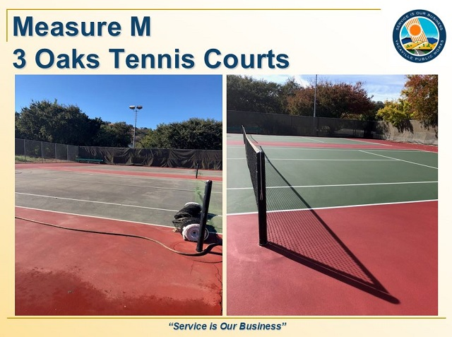 Tennis courts at Three Oaks before and after resurfacing
