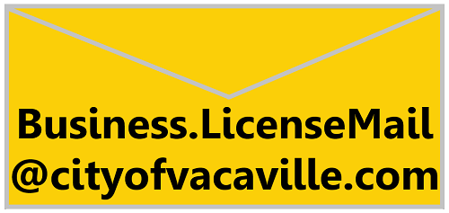 Envelope showing e-mail: Business.LicenseMail@cityofvacaville.com