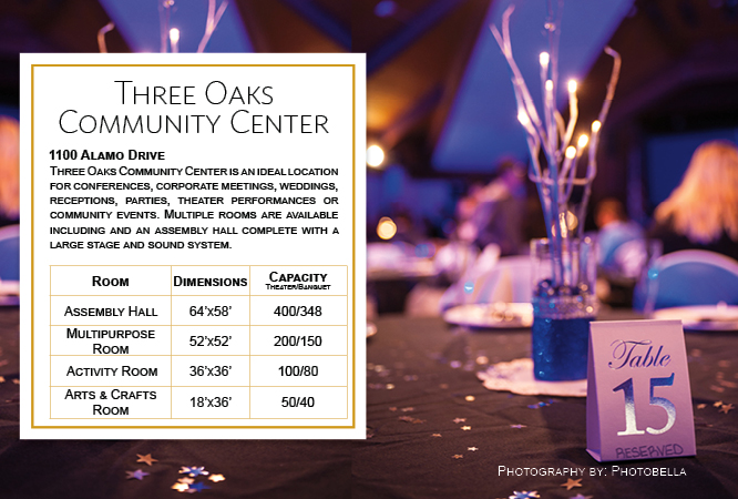 Wedding Tables and Room Sizes at Three Oaks Community Center