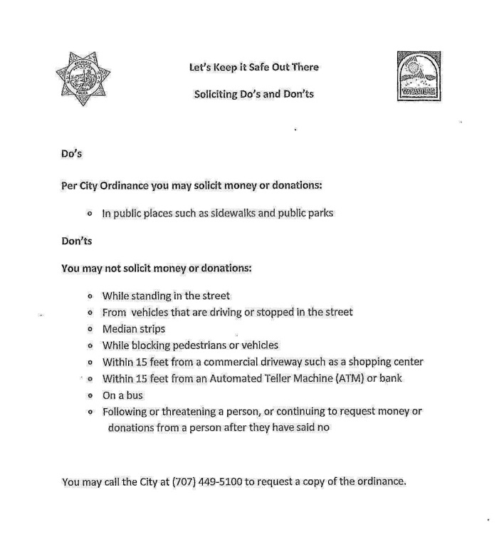 Page one of a handout to panhandlers
