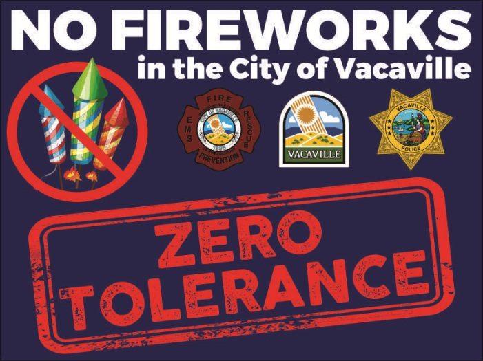 Poster stating that the City of Vacaville has ZERO Tolerance for fireworks