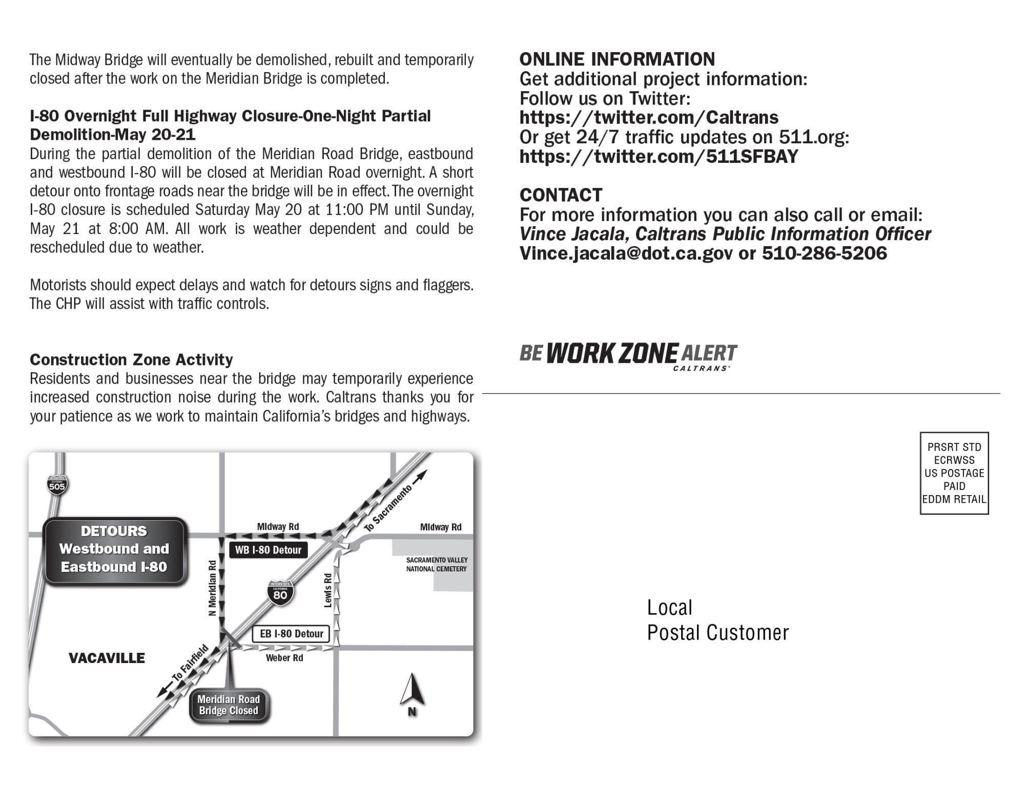 Meridian Road Overcrossing Closure | News | Vacaville, CA