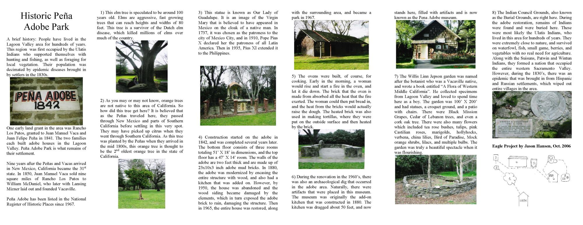 Brochure outlining the history of Pena Adobe Park