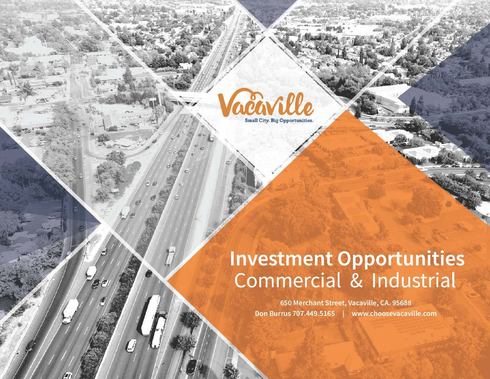 Cover of the brochure highlighting commercial and business investment opportunities in Vacaville