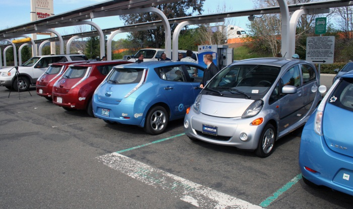 Vehicles line up for a charge at the new quick charge station