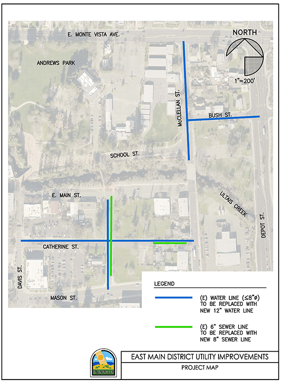 Map of the project area for water and sewer improvements for the East Main District