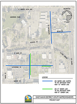 Small version of the project map for the water and sewer line improvements on East Main