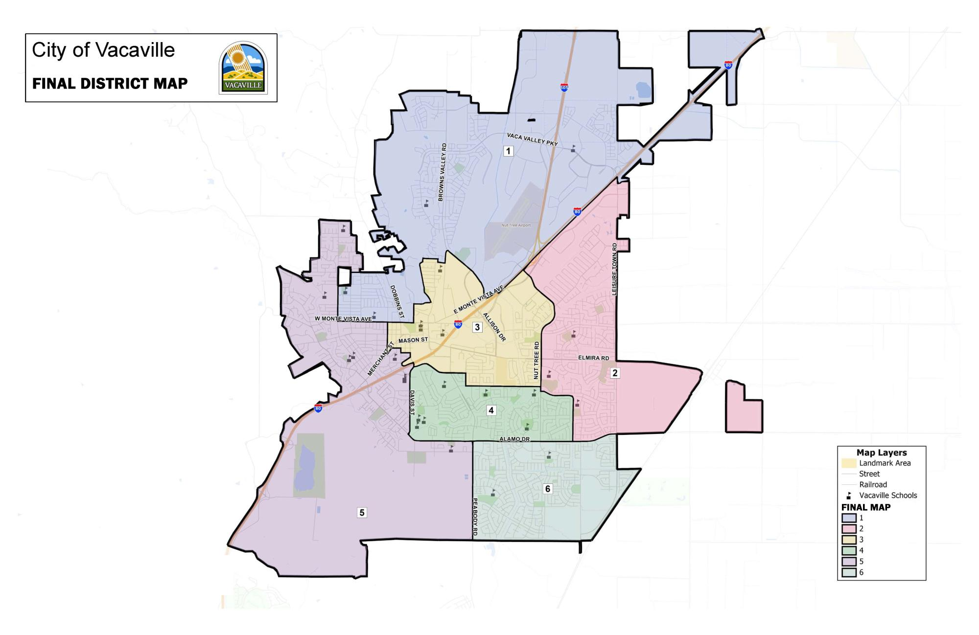 Map showing the six districts that were chosen by the Vacaville City Council.
