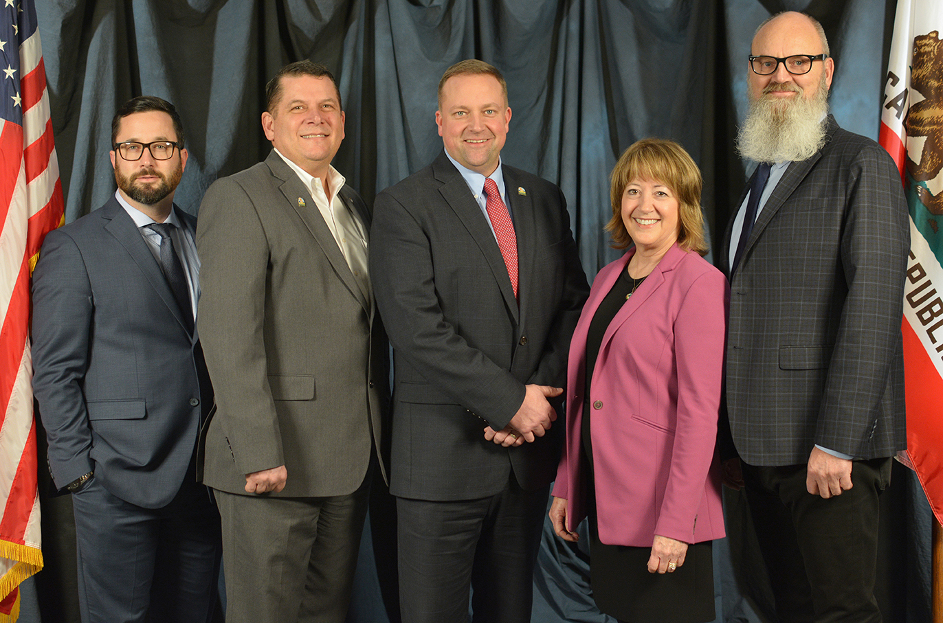 Vacaville City Council members, left to right, Nolan Sullivan, Mitch Mashburn, Mayor Ron Rowlett, Dilenna Harris, Raymond Beaty ,
