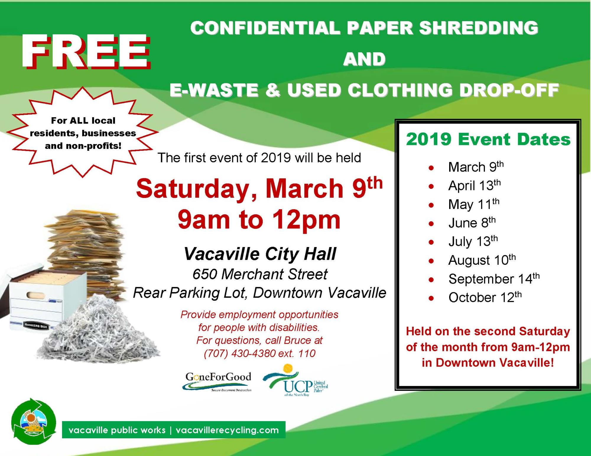 Paper Shredding Event | Event List View | Vacaville, CA