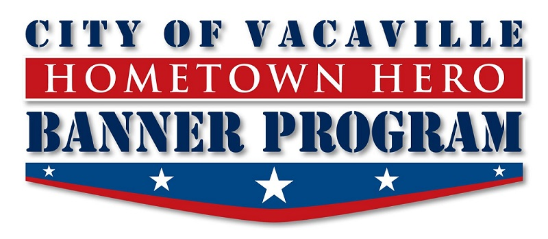 City of Vacaville Hometown Hero Banner Program logo - stars and stripes