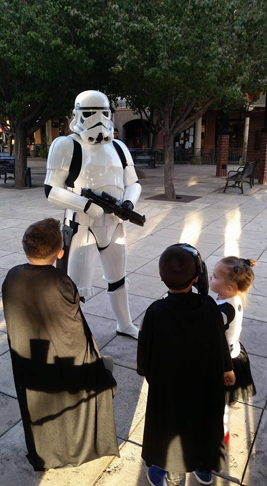 Movie night in Downtown Vacaville - Star Wars storm trooper and little kids!