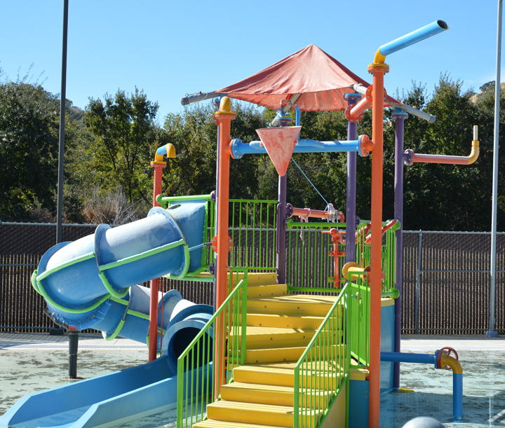 Shot of kiddie play structure at Graham Aquatic Center